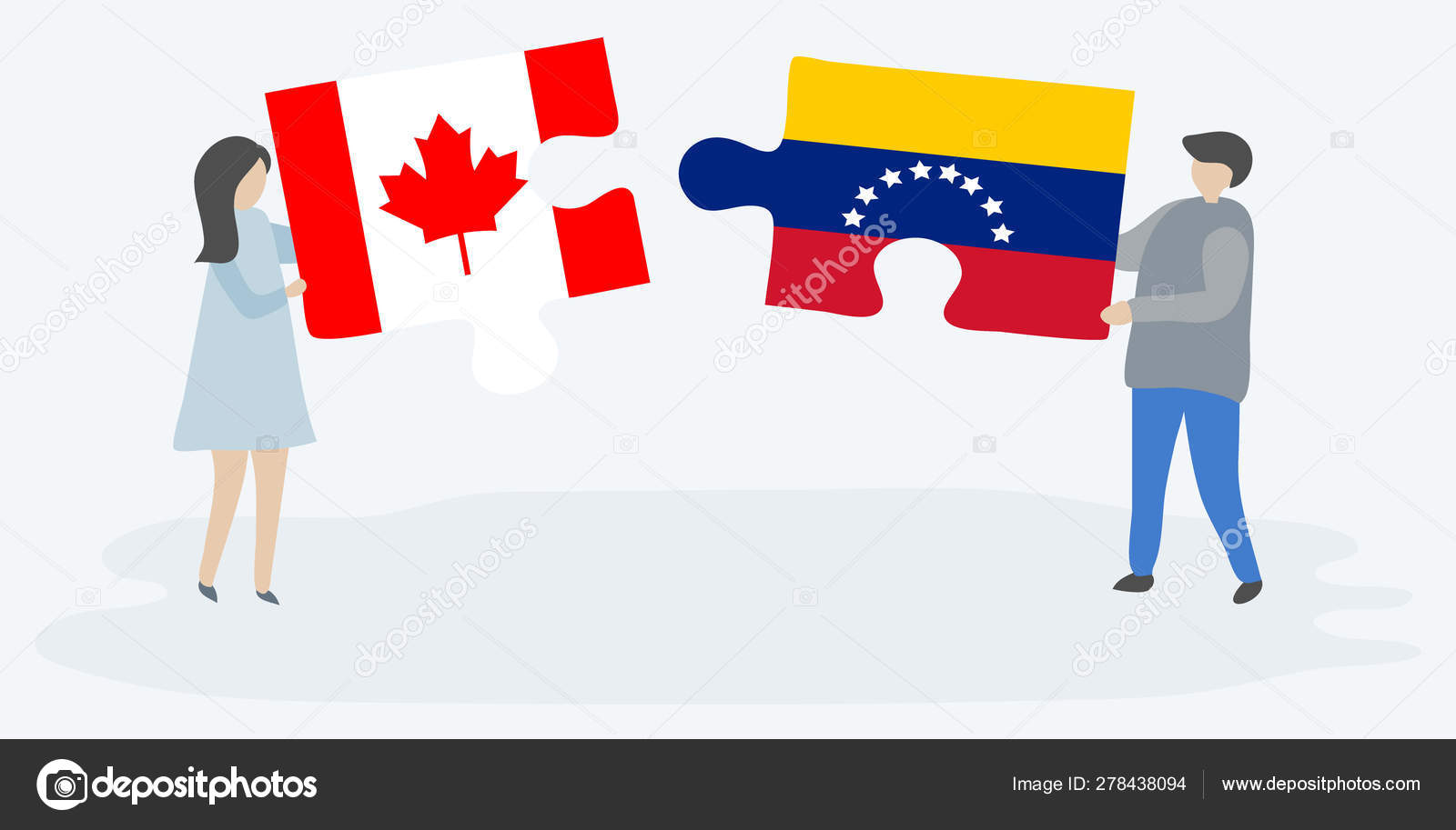 Couple Holding Two Puzzles Pieces Canadian Venezuelan Flags Canada ...