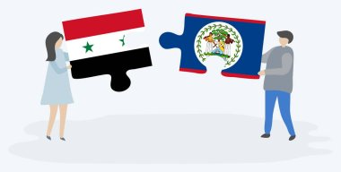 Couple holding two puzzles pieces with Syrian and Belizean flags. Syria and Belize national symbols together.