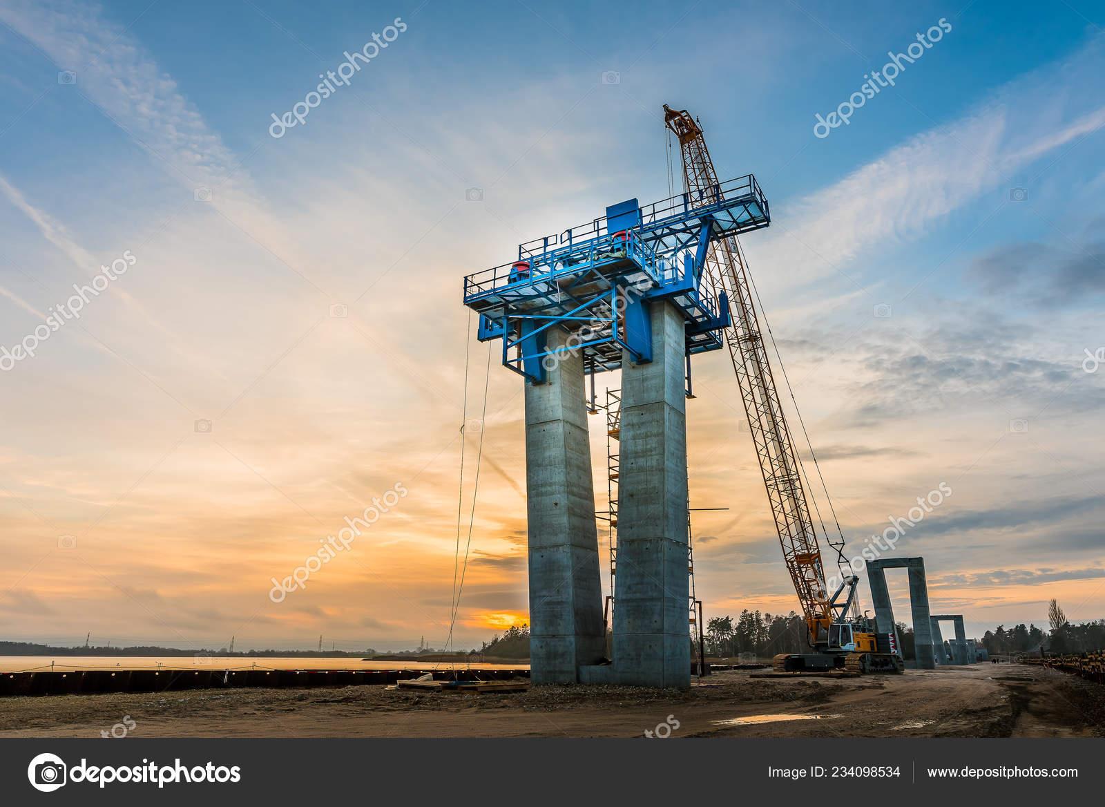 Crane Working Cunstruction Site Crown Princess Marys Bridge