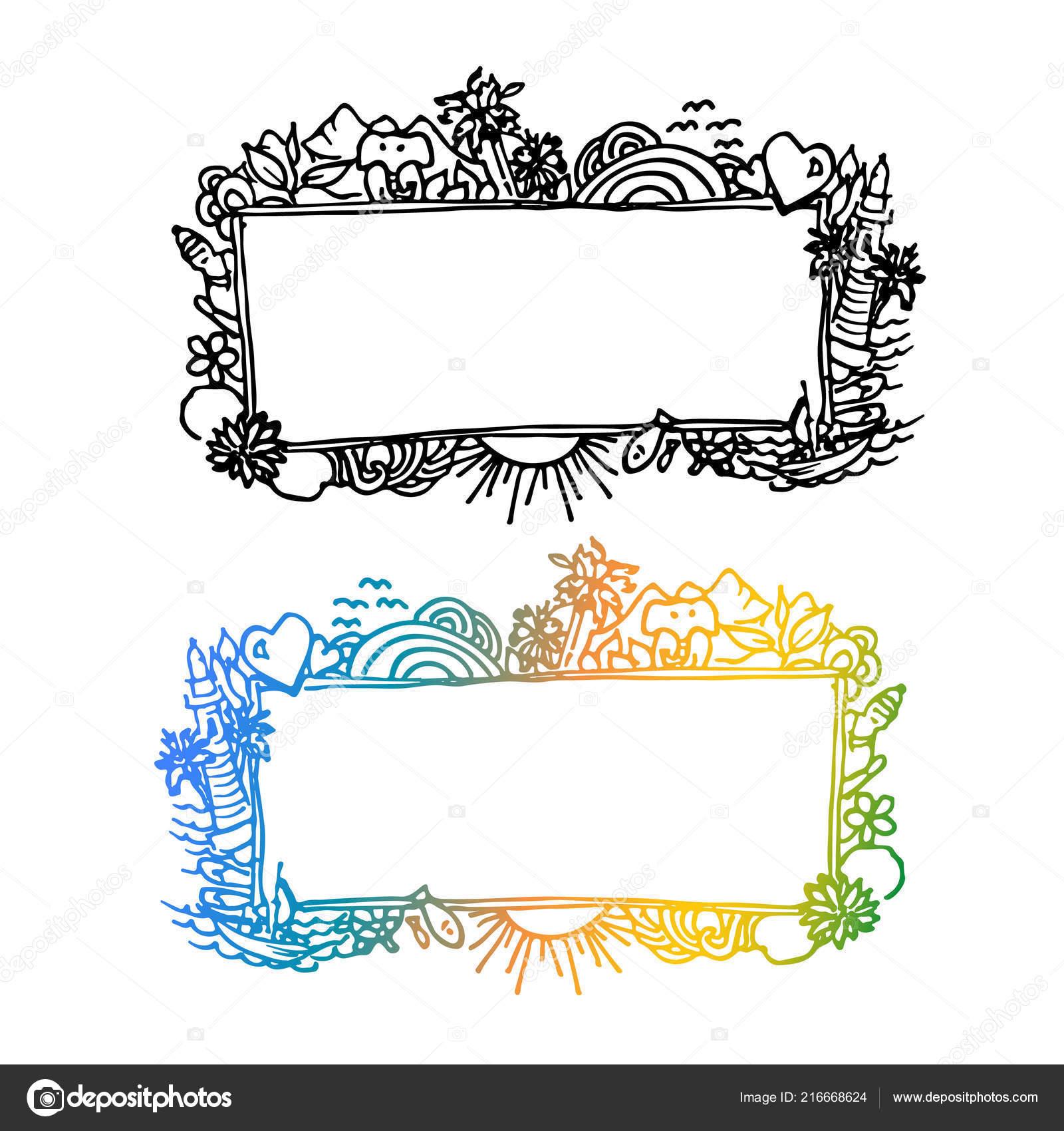 Asian Travel Theme Vector Frames White Background — Stock Vector ...