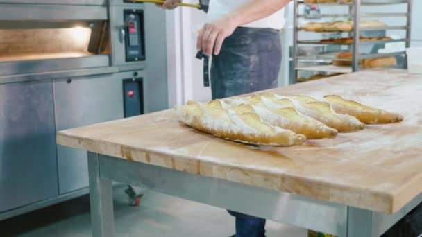 Professional baker taking bread out from the oven in a commercial kitchen