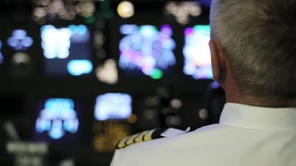 Kapitän steuert das Flugzeug, Rückansicht.