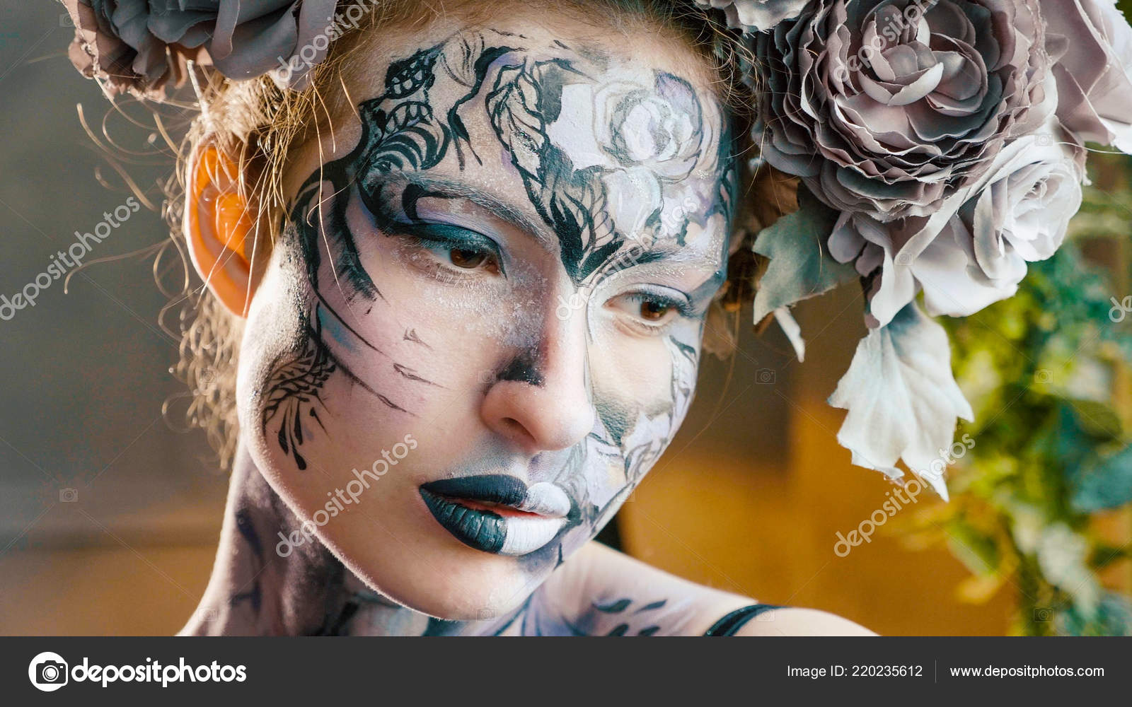 halloween face art portrait of beautiful woman with halloween make up stock photo