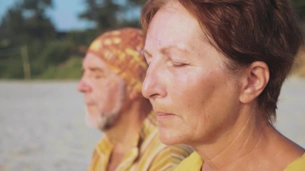 Vedoucí pár sedí a meditovat společně na písečné pláži