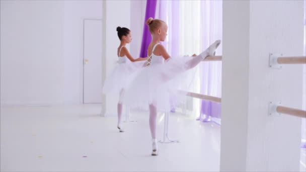 Two ballerinas children performance dance elements standing near barre stand.