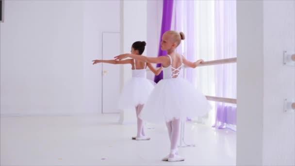 Two ballerinas children performance dance elements standing near barre stand.