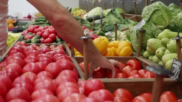 Detailní záběr rukou pracovníků v obchodě s potravinami aranžuje zeleninu na regálech skladu