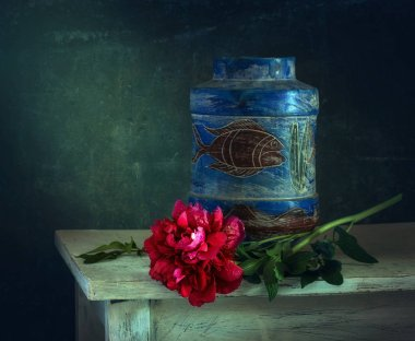still-life with flowers. peonies. vintage