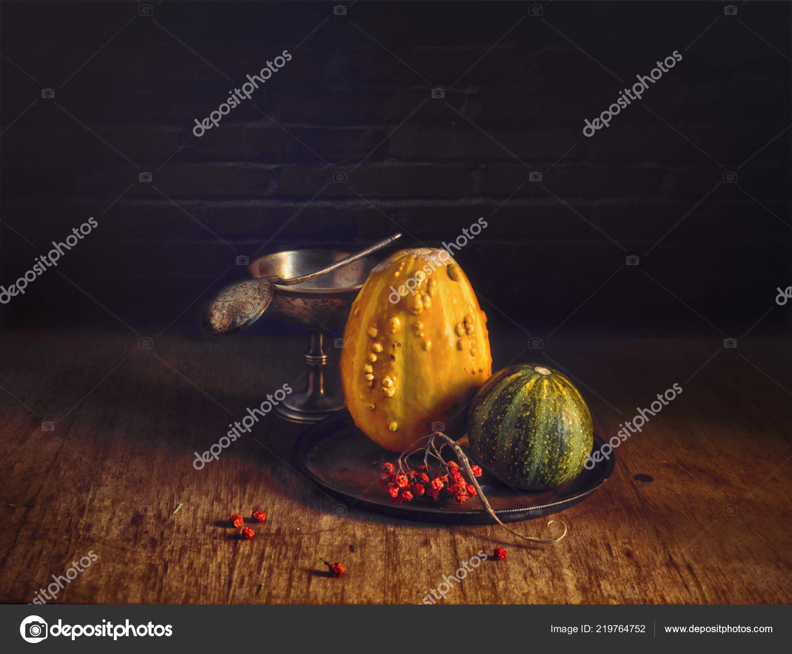 still life pumpkin rowan berries vintage food halloween stock photo