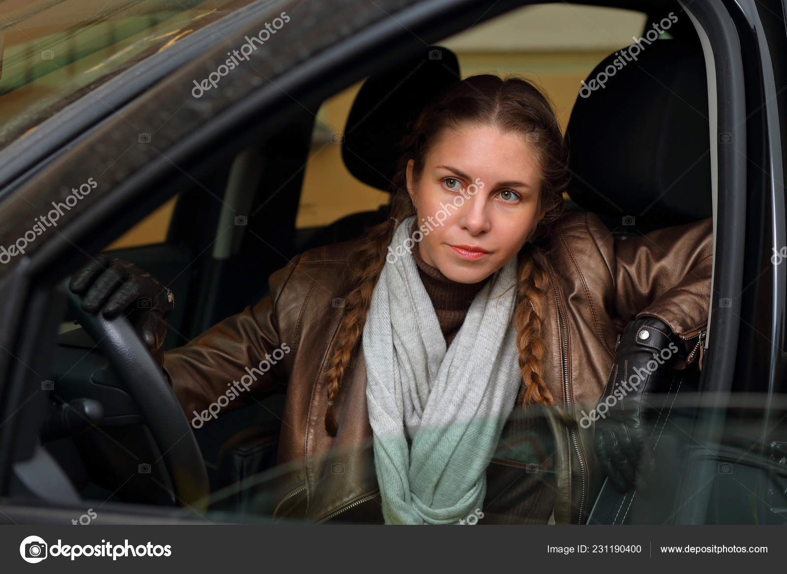 Beautiful Stylish Girl Leather Jacket Gloves Driving Car
