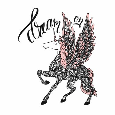 Hand drawn magic Unicorn for adult anti stress Coloring Page with high details isolated on white background