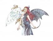 Fényképek angyal vs demon girl akvarell illusztráció kézzel festett