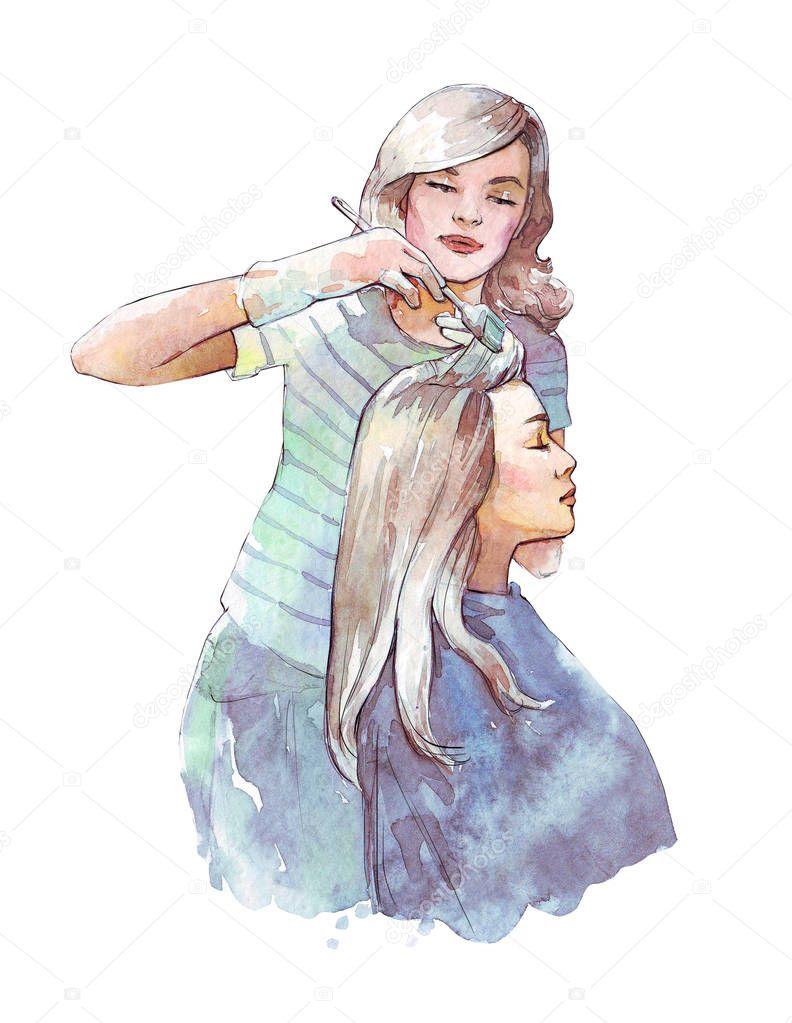 Днем, открытка для парикмахера акварель