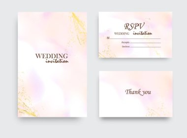 Coral gold greeting brush strokes wedding decoration. Vector glitter orange sparkling background. Watercolor spring hand-drawn design.