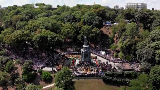 Kiev, Ukraine - July 27, 2019: Prayer service near the monument to Vladimir the Great of the parishioners of the Ukrainian Orthodox Church before the beginning of the procession to the Kiev-Pechersk Lavra. Day of the Baptism of Ukraine, Russia.