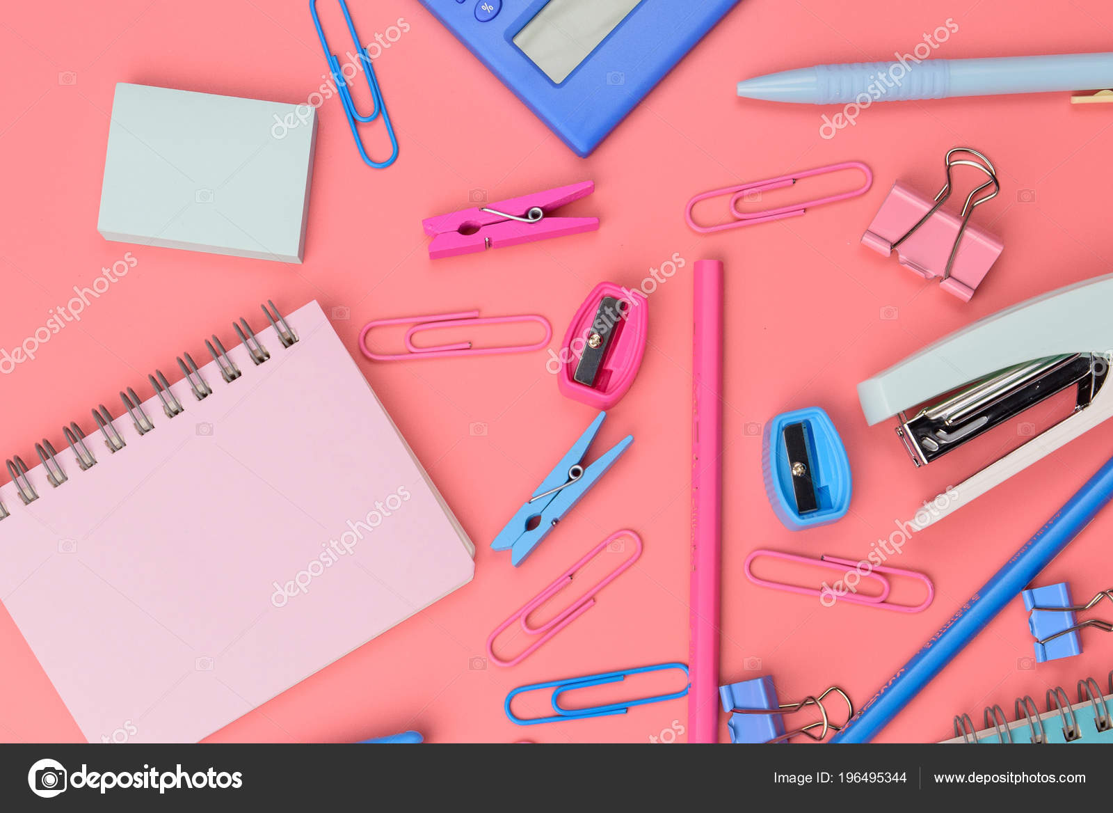 Stationary Concept Flat Lay Top View Photo Scissors Pencils