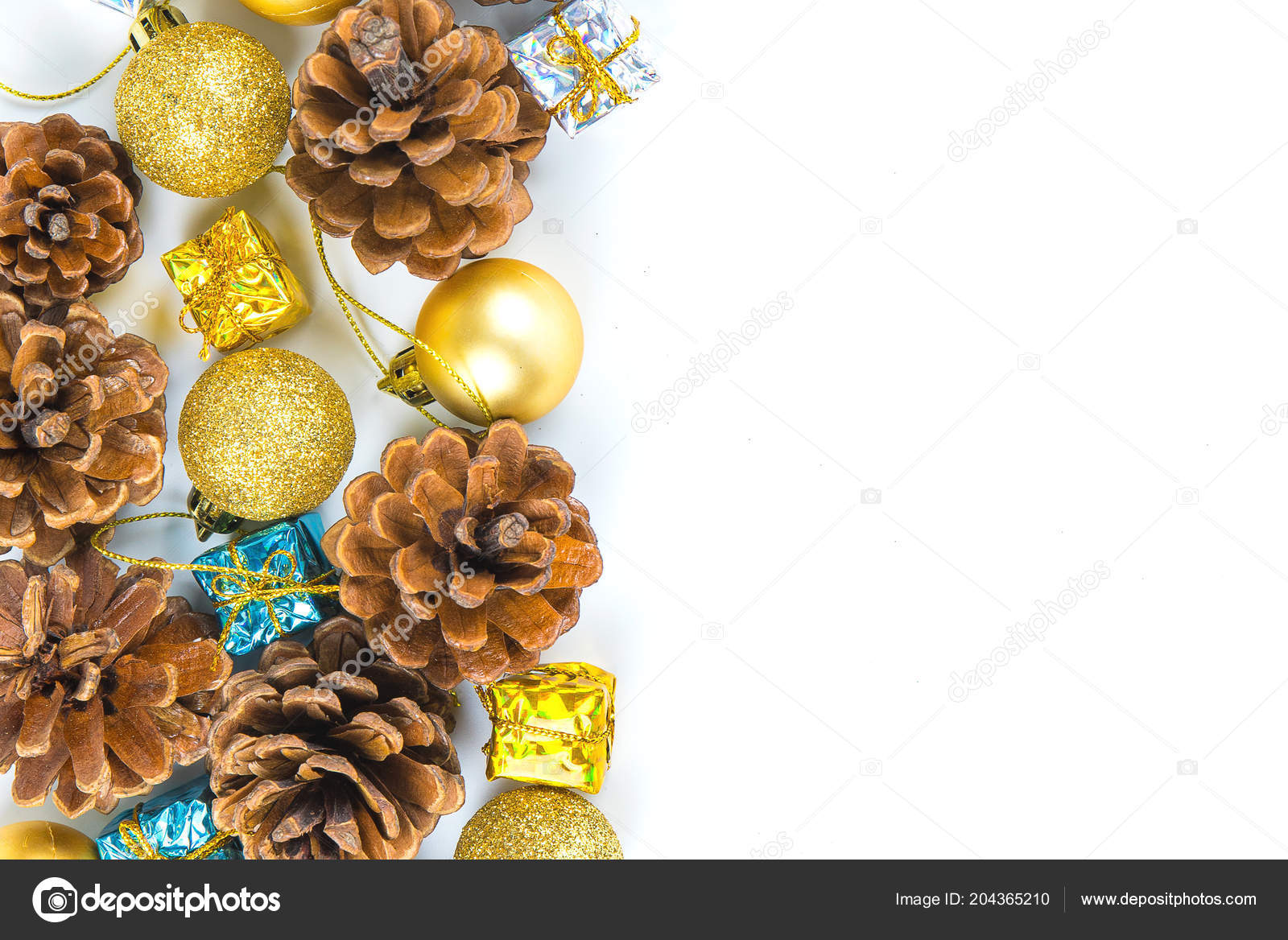 christmas new year background pine cones gift box red ribbon stock photo