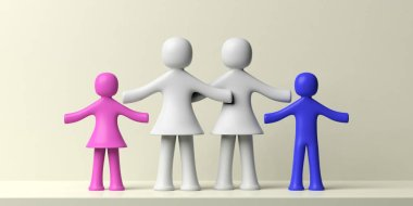Gay lesbian family concept. Lesbians and two children human figures isolated on white background. 3d illustration
