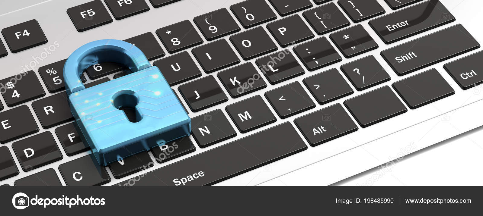 Computer Security Concept Blue Padlock Computer Keyboard Banner Illustration Stock Photo C Gioiak2 198485990