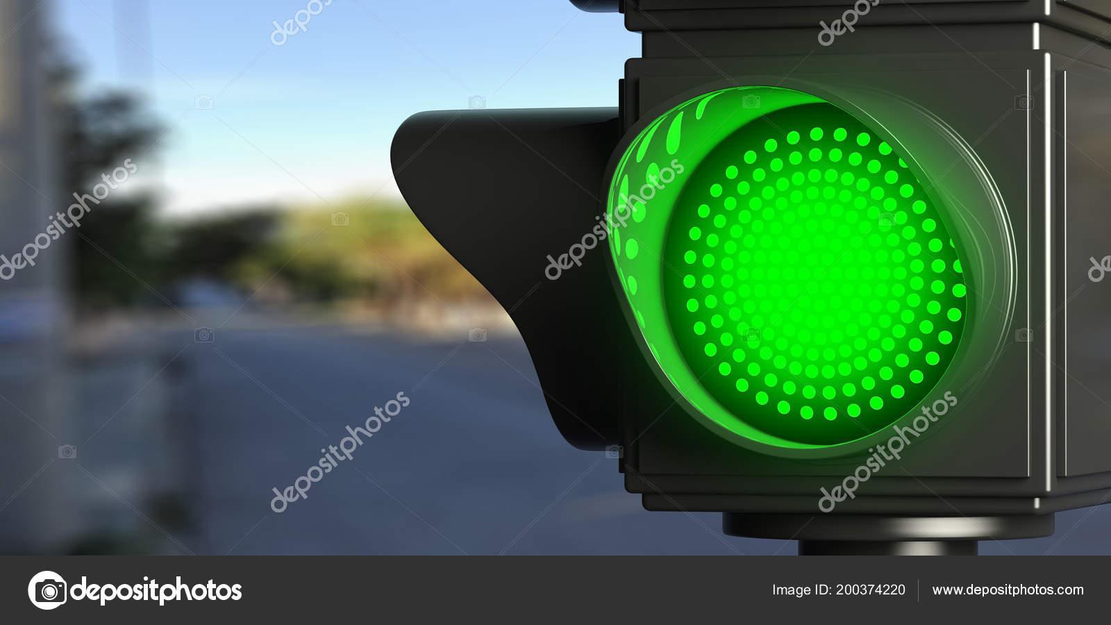Semafori Led Verde Acceso Sfocatura Sfondo Strada Spazio Della Copia