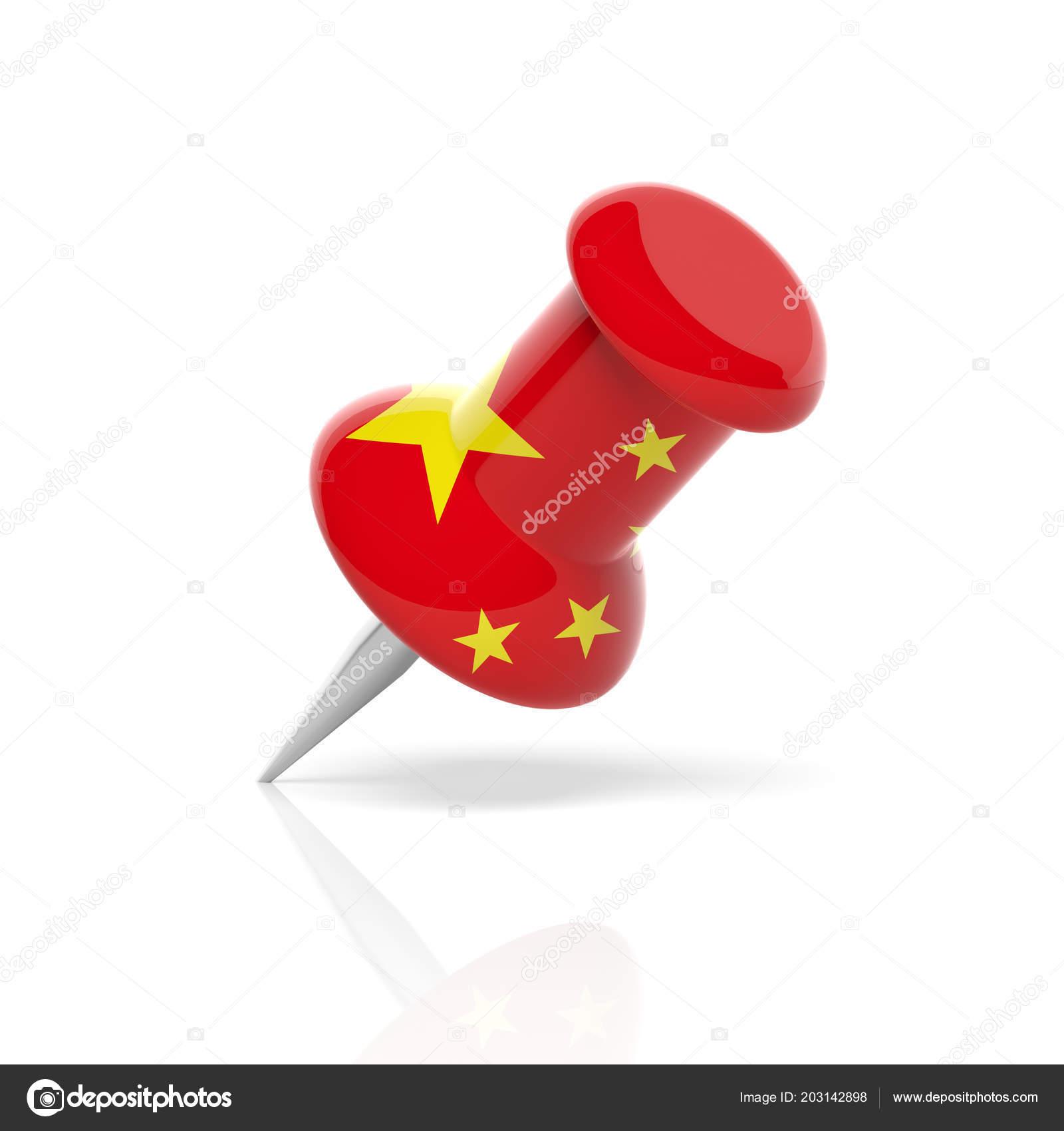 Chinese Symbol China Flag Push Pin Isolated White Background