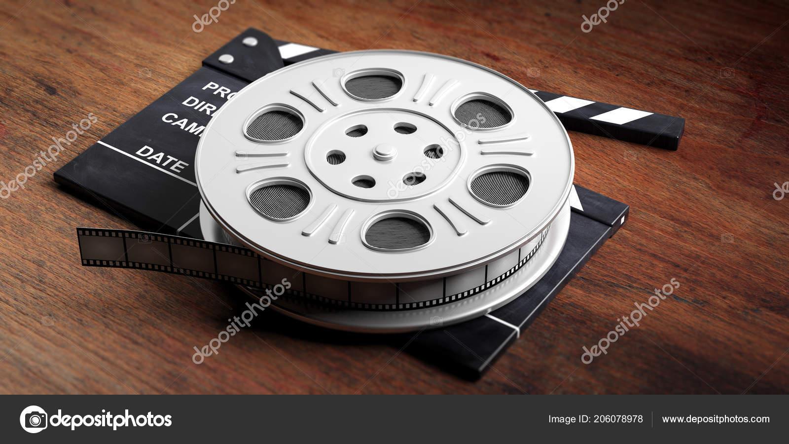Cinematography Concept Film Movie Reel Movie Clapper Wooden