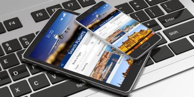 Flights online booking and reservation. Smartphone and tablet on a computer keyboard, Search flights on the screens. 3d illustration