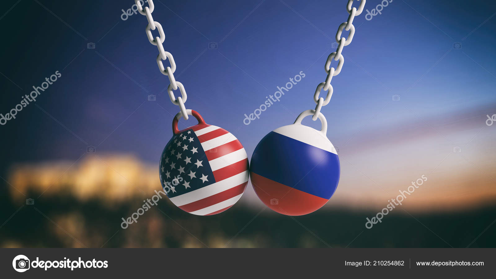 America Russia Relations Usa Russian Flags Wrecking Balls Swinging Blue —  Stock Photo