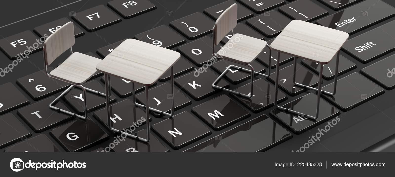 Learning Webinar Concept White Desks Black Laptop Computer Keyboard Banner Stock Photo C Gioiak2 225435328