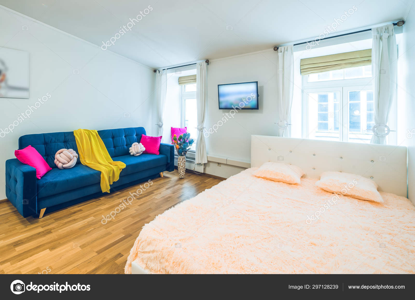 Tremendous Modern Interior Of Studio Apartment Cozy Sofa Bed And Gmtry Best Dining Table And Chair Ideas Images Gmtryco