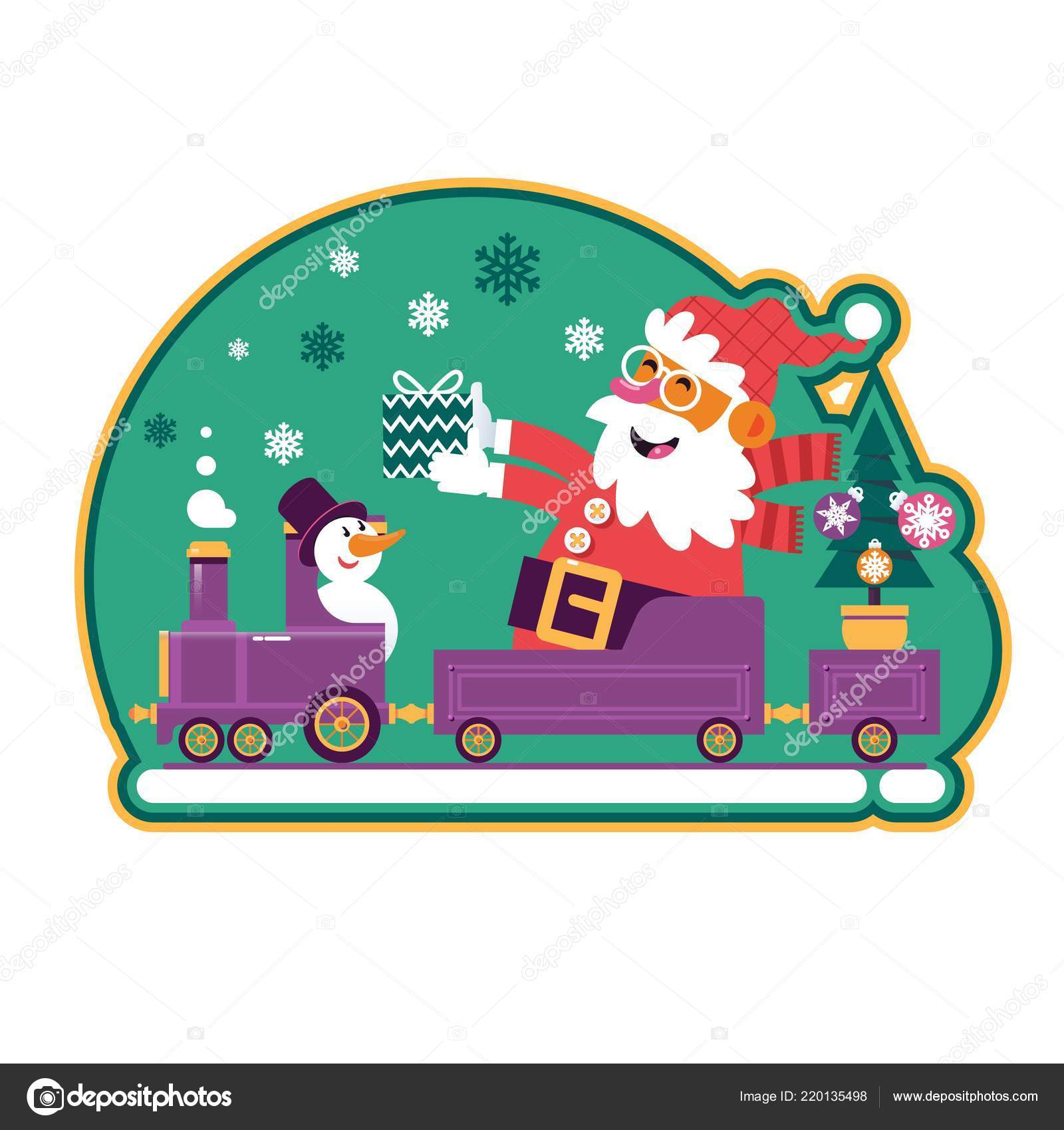 Santa Green Christmas Tree Presents Cute Cartoon Santa Claus Sticker Stock Vector C Nutcracker 220135498 Christmas is a very special time of the year where every kid eagerly look forward to have some fun. https depositphotos com 220135498 stock illustration santa green christmas tree presents html