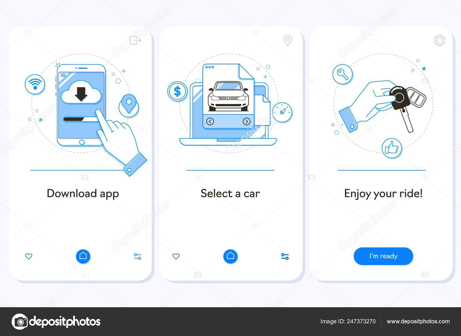 Car Rental Service Onboarding Mobile App Page Screen Linear