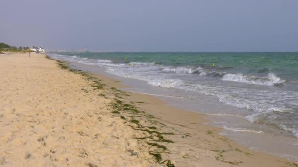 Tenger hullámai homokos strand háttér. Fröccsenő víz hullámai az óceán partján