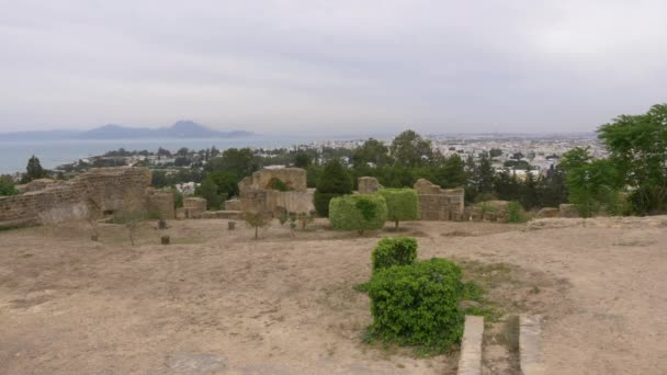 Krajina s starověké Kartágo zříceniny, strom, město, moře a hory v Tunisku