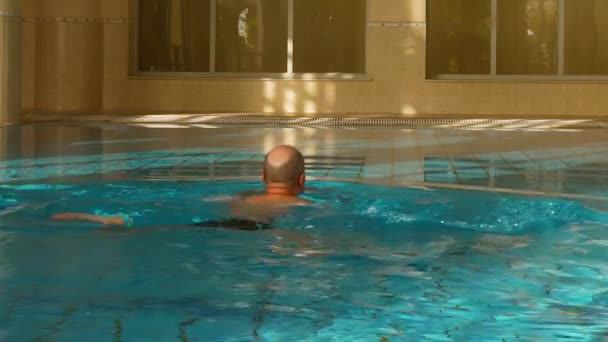 Breaststroke swimming man in indoor pool, back view, slow motion