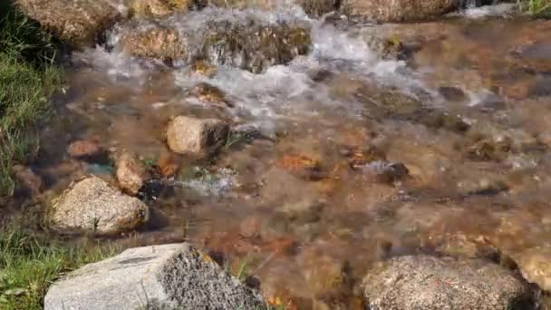 Clear water flow, rocky river closeup. Flowing water of creek in mountain valley