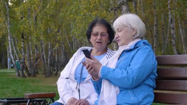 Dva starší žena hledá mobilní telefon spolu v podzimní městského parku. Starší žena sedí na lavičce pomocí chytrého telefonu v podzimní den