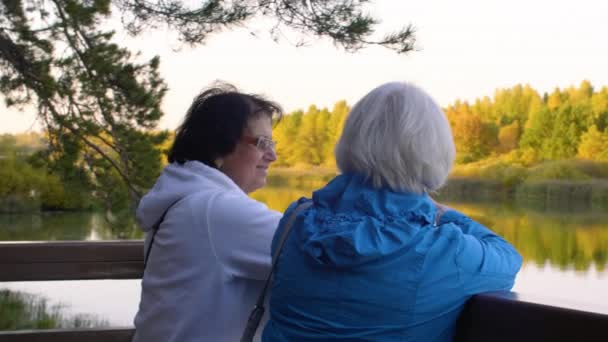 Smiling elderly women looking at river in beautiful autumn park