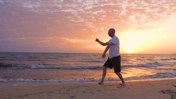 Athletic man practicing Tai Chi asian martial arts on sea beach in the morning