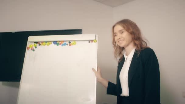 Usměvavá podnikatelka pomocí flipchart pro práci s obchodním projektem v sadě office