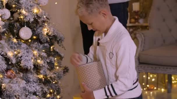 Šťastný dospívající chlapec, zdobení vánočního stromu hračku skla a věnec v domácnosti