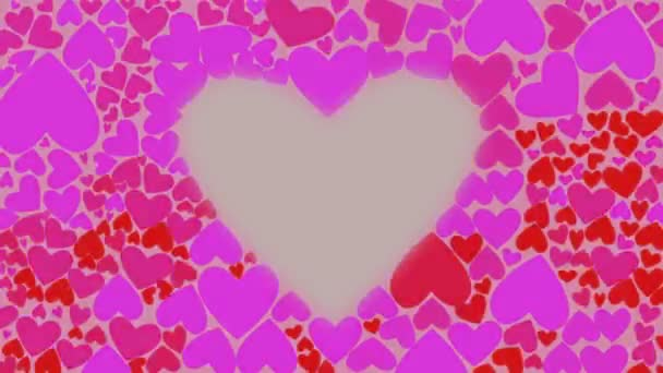 Red and lilac hearts change their color chaotically waves. Motion greeting card Love Valentines Day. CG