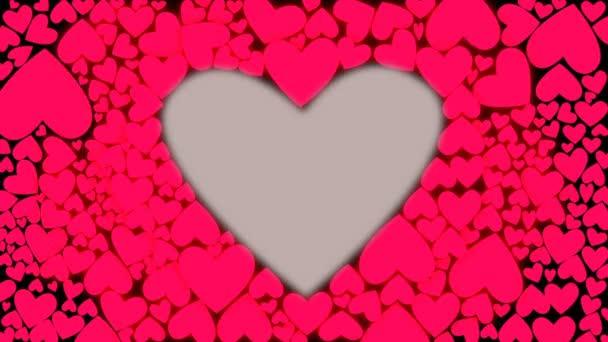 Červené růžové srdce tvar. Prezenční signál jako bicí pohybu. Animaci srdcová odraz na beat. Bezešvá smyčka. CG