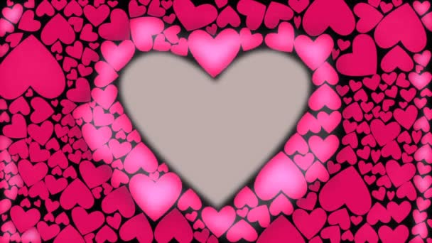Red heart glow with waves from cnter to outer. Heart shape animation. Pink color heart light waves. CG
