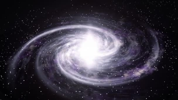 Rotating spiral galaxy deep space exploration. Space background.