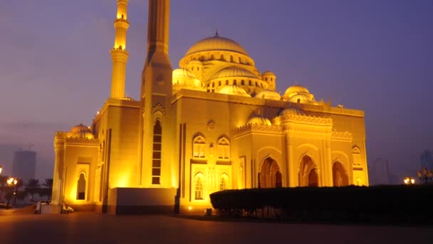 Walk along the Arabian mosque at night. A lone cyclist rides through the park alley. Illuminated gold lights mosque. Morning outdoors shot.