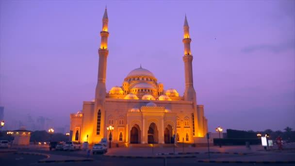 Al Noor mosque in Sharjah front view. Locked down shot night scene in Arabia.