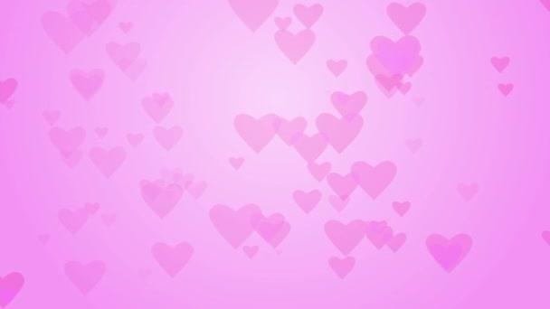 Szerelmes szívek a rózsaszín háttér színátmenet halad. Rózsaszín szív háttér folyamatos hurok.