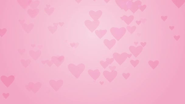 Pink hearts rising up on romantic background. Animated card for Valentine day Seamless loop.