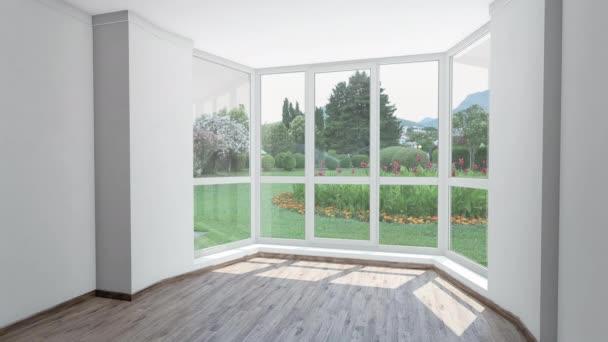 Prázdný dům pro nájemné, krásná zahrada s automatickým postřikovacím systémem mimo okno. Chroma klíč Video na pozadí